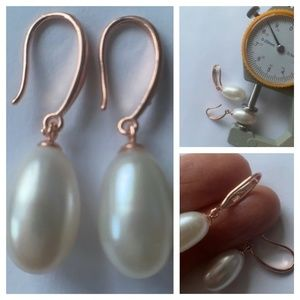 White AAA Pearls ROSE Gold Fishhook Earwires